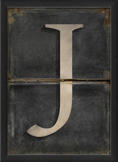 The Artwork Factory Letter J Framed Textual Art Letter J, Letter Wall, Alphabet Photography, Neutral Color Scheme, Wooden Letters, Lettering Design, Metal Wall Art, Black And Grey, Gray