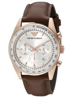 Emporio Armani Mens Sport Brown Leather Watch ** Check this awesome product by going to the link at the image. Cheap Watches For Men, Cool Watches, Wrist Watches, Men's Watches, Sport Watches, Luxury Watches, Emporio Armani Mens Watches, Brown Leather Watch, Watch Sale