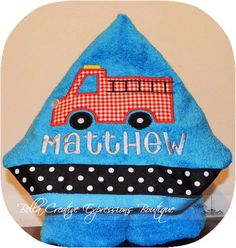 Firetruck Hooded Towel (other colors available for towel)