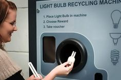 A Lightbulb Recycling Machine: people in the UK, Brazil, and the United Arab Emirates can dispose of their used lightbulbs, using machines that separate LEDs and CFLs from incandescent bulbs. Built by U.K. firm reVend, the machines allow recyclers to remove and recycle the small quantities of mercury and other toxic substances found in fluorescents and some LEDs.