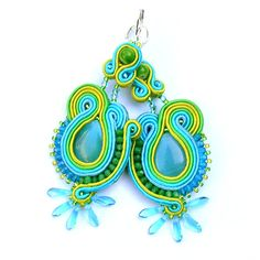 Long soutache earrings green and blue cat eye colorful by PikLus