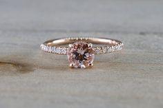 14k Rose Gold Dainty Round Morganite With Round Cut Diamonds Ring