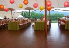 Sperry Tent with Pink, Orange adn Yellow Paper Lantern Lighting