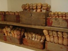 old crates filled with carnival dolls...