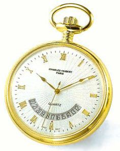 Pocket Watch - 14k Gold-plated Open Face, Gold Roman Numeral White Dial Pocket Watch Goldfinger. $72.00. 14kt gold-plated. Charles-Hubert  Swiss movement. Case diameter 42mm. mineral glass. Curb chain, Belt clip. Save 51% Off!