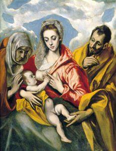 """La Sagrada Familia con Santa Ana"" 1595. Óleo sobre lienzo, 106 x 127 cm. Fundación Casa Ducal de Medinaceli, Toledo. http://www.fundacionmedinaceli.org/coleccion/fichaobra.aspx?id=368"