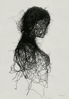 Norwegian visual artist Andreas Lie blurs the boundary between the beautiful . Dark Art Drawings, Drawing Sketches, Pencil Drawings, Drawing Ideas, Stylo Art, Scribble Art, Arte Obscura, Arte Horror, Pen Art