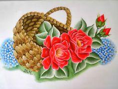 Cesto com rosas vermelhas, pintura