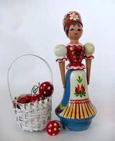 Peasant folk wooden hand painted girl LOVE by Gollygollygolly, $6.50