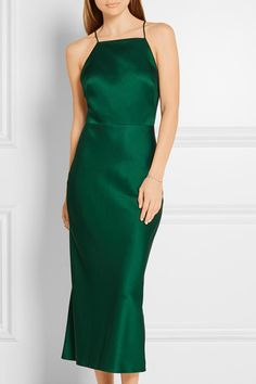 Jason Wu's emerald midi dress is cut from lustrous crepe de chine. Suspended from pin-thin straps, this elegant style is designed with a high square neckline and low scooped back. The silk lining ensures it has smoothest drape - wear yours with metallic accessories.