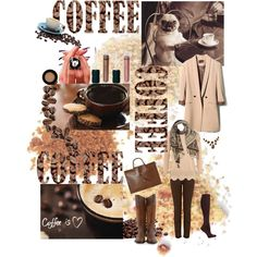 Coffee? Yes, please.  via Polyvore
