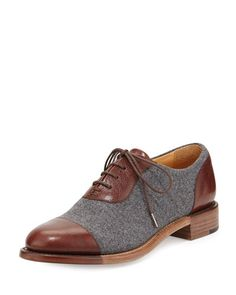 Hampton Wool Lace-Up Cap-Toe Oxford, Tan by The Office of Angela Scott at  Neiman Marcus.