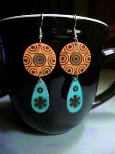 Boho Wood Burned Earrings by CollectivelyCathy on Etsy, $12.00