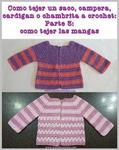 Como tejer un saco, campera, cardigan o chambrita a crochet o ganchillo desde el canesu38