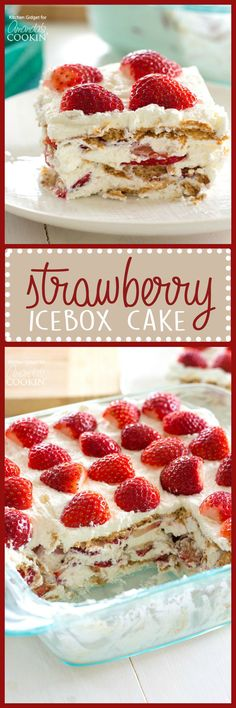 Strawberry Icebox Cake is the perfect summer treat. Strawberries, whipped cream,… Strawberry Icebox Cake is the perfect summer treat. Strawberries, whipped cream, and graham crackers are all you need to make this no-bake dessert wonder! Icebox Desserts, No Bake Desserts, Easy Desserts, Delicious Desserts, Dessert Recipes, Icebox Cake Recipes, Strawberry Icebox Cake, Strawberry Desserts, Frozen Desserts