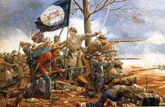 """""""En el muro"""". artista Hoyt Brown. Una representación inquietantemente realista de la Brigada de Thomas R. Cobb defendiendo las alturas de Marye el 17 de diciembre de 1862 en Fredericksburg."""