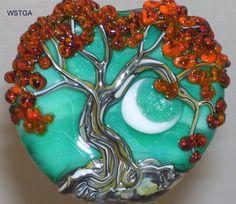 WSTGA~BLISSFUL AUTUMN MOON~TREE FALL handmade lampwork glass bead focal SRA