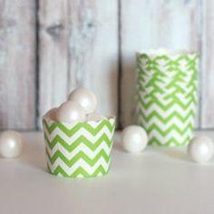 Green Chevron Baking Cups