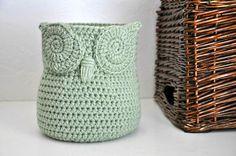 Sage Green Owl Basket Crocheted Bin Yarn by AandBDesignStudio
