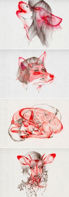 Girl drawings with woodland creatures overlaid Illustrations-par-Peony-Yip-2