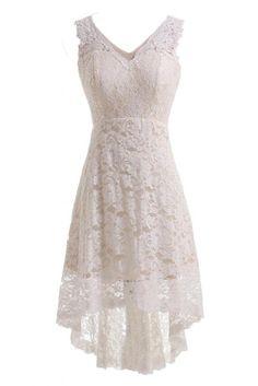 Gorgeous Bride Elegant Kurz V-Ausschnitt A-Linie Satin Spitze Brautkleid Hochzeitskleid -32 Elfenbein