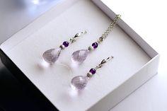 Light amethyst and amethyst on 925 Silver Light Amethyst, Pearl Earrings, Drop Earrings, Artisanal, 925 Silver, Jewelry, Fashion, Handcrafted Jewelry, Stones