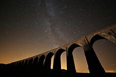 Images of Ribblehead Viaduct to feature in exhibition exploring the dark skies of the Yorkshire Dales. (From The Northern Echo) Yorkshire Dales, North Yorkshire, Ribblehead Viaduct, Dark Skies, English Countryside, The Darkest, Backdrops, Sky, Explore