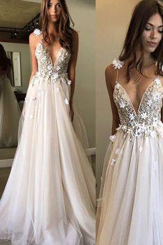Princess Long Prom Dresses, Floral Open Back Deep V-neck Straps Tulle Appliques Prom Dress,#longpromdress #promdress #tulleprom #eveningdress #weddingdresses