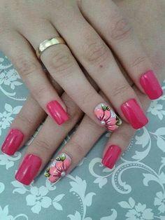 Fucsia Cute Nails, Pretty Nails, Finger Nail Art, Fabulous Nails, Flower Nails, Beautiful Nail Art, Manicure And Pedicure, Nail Tech, Hair Pieces