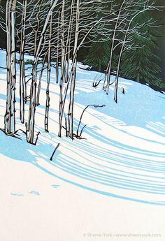 """Snow Shadows II"" Reduction linocut hand printed on Hosho by Sherrie York. sherrieyork.com/ Tags: Linocut, Cut, Print, Linoleum, Lino, Carving, Block, Helen Elstone, Trees, Snow, Landscape"