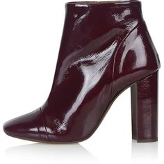 TOPSHOP HAYLEY Patent Ankle Boots ($130) ❤ liked on Polyvore featuring shoes, boots, ankle booties, bordeaux, topshop booties, block heel booties, retro boots, high heel ankle booties and ankle boots