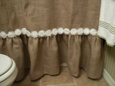 burlap shower curtain...i am sooo making this...with buttons along the bottom!
