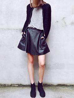 Black PU Skirt With Rawed Edge