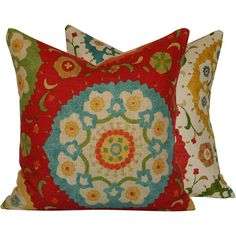"Decorative Pillow Cover: 18x18"" . Richloom Cornwall Suzani Print . Red, Green, Yellow and Blue . Fiesta Infusion Collection"