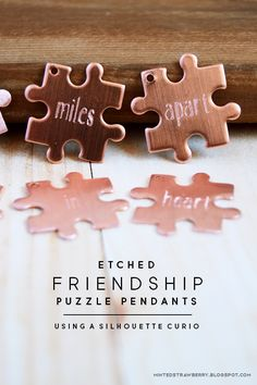MINTED STRAWBERRY: Make some matching pendants for you and your friends! These puzzle piece pendants are perfect for #galentines! @silhouettepins #DIYjewelry #etching #etch #silhouettecurio #silhouetteproject