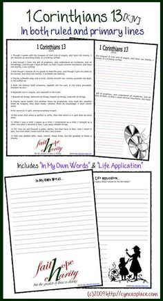 "1 Corinthians 13 copywork - includes ""In My Own Words"" and ""Life Application"" prompts, plus memorization cards! #scripture #homeschool"
