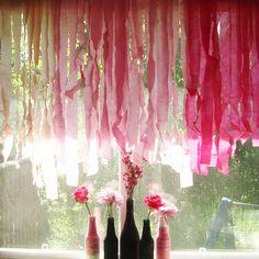 DIY ombre crepe paper curtain