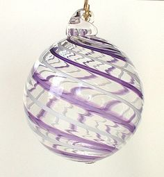 Hand Blown Glass Christmas Ornament Clear Purple White Stripes. $16.00, via Etsy.