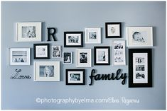 photo Wall Display ideas - Black and white frames Black Frames On Wall, Black And White Frames, Decoration Photo, Frame Decoration, Photo Arrangement, Display Family Photos, Letter Wall, Letters, Family Wall