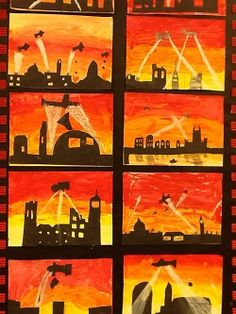 Art World War 2 Display, Remembrance Day Art, Ww1 Art, Primary School Art, History Activities, Silhouette Art, World War One, London Art, Teaching Art