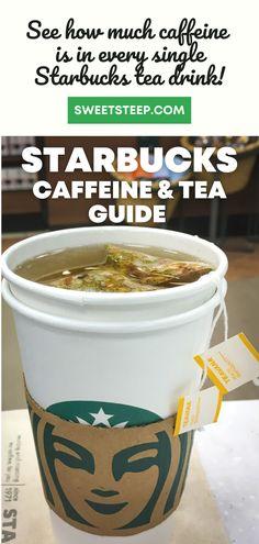 See how much caffeine is in every Starbucks hot and iced tea. Learn which teas are caffeine-free and which have the most caffeine. #starbucks #tea #icedtea #caffeine #caffeinefree #nocaffeine #drinks #healthy Iced Chai Tea, Starbucks Tea, Matcha Green Tea Latte, Caffeine Free Tea, Peach Juice, Breakfast Tea, Brewing Tea, Teas, Drinking Tea
