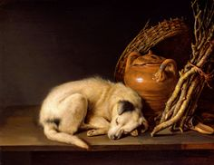 "Gerrit Dou (1613-1675) ""A Sleeping Dog with Terracotta Pot"" (1650) Oil on panel Dutch Golden Age Currently in a private collection"