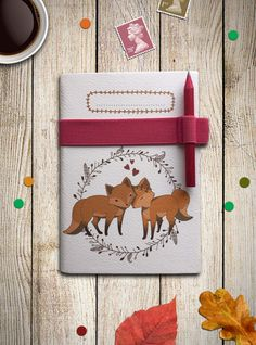 LINED Woodland Foxes Notebook A6 with pink strap and pencil, Travelers Diary, recycled paper by aCupOfCreativity on Etsy https://www.etsy.com/listing/227850137/lined-woodland-foxes-notebook-a6-with