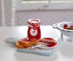 Miniature Strawberry Jam and Toast Set by CuteinMiniature on Etsy, $18.00