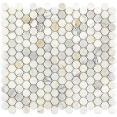 Marble Mosaic, Marble Floor, Mosaic Tiles, Penny Tile Floors, Stone Tile Flooring, Calacatta Tile, Penny Round Tiles, Shower Floor, Bathroom Ideas