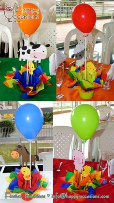 Decoración Fiesta Granja Niño Farm Animal Party, Farm Animal Birthday, Baby Boy 1st Birthday, Farm Birthday, Farm Party, Boy Birthday Parties, Birthday Centerpieces, Birthday Party Decorations, Aniversario Peppa Pig