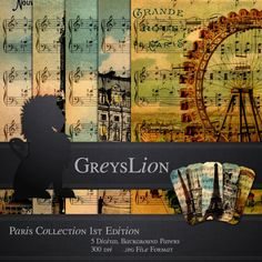 Oh Paris 5 DIGITAL BACKGROUNDS Sheet Music 12x12 by greyslion, $0.99