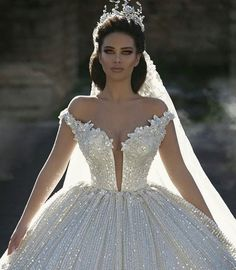 2019 Off Shoulder Lace Appliques Ball Gown Wedding Dresses Sequined Bridal Gowns Chapel Train Formal Church Arabic Dubai Luxurious Wedding Wedding Dresses White Ball [. Dream Wedding Dresses, Bridal Dresses, Wedding Gowns, Grecian Wedding, Dubai Wedding Dress, Princess Ball Gowns, Princess Wedding, Princess Fairytale, Cinderella Wedding