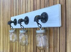 Handmade mason jar light fixture on whitewash wood, a unique idea for any lake house bathroom, coastal bathroom, beach decor, cottage bath and much more. Available in different wood colors. Mason Jar Light Fixture, Mason Jar Lighting, Coastal Bathroom Decor, Bath Decor, Lake House Bathroom, Bathroom Beach, Rustic Lighting, Farmhouse Lighting, Vanity Light Fixtures