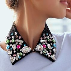Collar Clips, Collar And Cuff, Beaded Collar, Collar Necklace, Embroidery Fashion, Beaded Embroidery, Fashion Details, Diy Fashion, Fashion Ideas